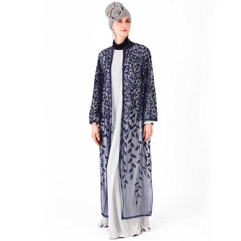 Лето блесток кафтан Абаи Турции Ислам пальто Дубаи мусульманский хиджаб платье Абая для женщин джилбаба кафтан Рамадан Elbise Костюмы