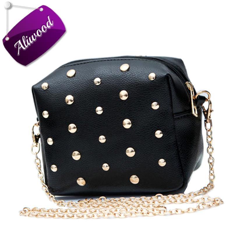 Aliwood Chain Women Bag Crossbody Bags Rivet Shoulder Bags PU Leather Female Mini Messenger Bags Flap Designer Handbag Bolsas  fun fashion personality disposable leather pu leather chain shoulder bag handbag female crossbody mini messenger bag purse