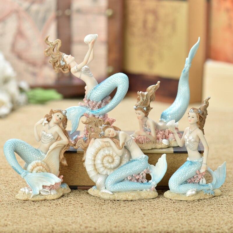Méditerranéenne élégante sirène princesse résine art artisanat figurines fille chambre décoration anniversaire mariage décorations cadeau pour enfant