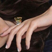 2020 nowy piękny duży owalny zielony kryształowy pierścień Trendy biżuteria Dropshipping wysokiej jakości biżuteria dla kobiet