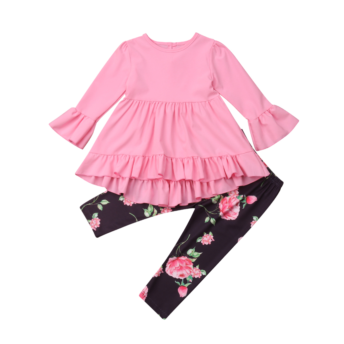 Toddler Kid Baby Girl Ruffle Clothes Tops Flare Long Sleeve High Waist Dress Floral Leggings Pants Outfits Set