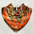 Wholesale Winter Printed Ladies Satin Square Scarves Printed Hot Sale Low Price High Quality Women Orange Polyester Scarf Shawl
