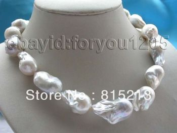 "ddh00811 18"" Genuine Natural white reborn keshi Pearl Necklace 14KGP 28% Discount"