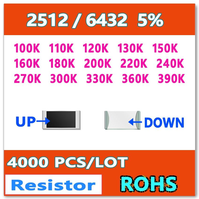JASNPROSMA 2512 J 5 4000pcs 100K 110K 120K 130K 150K 160K 180K 200K 220K 240K 270K