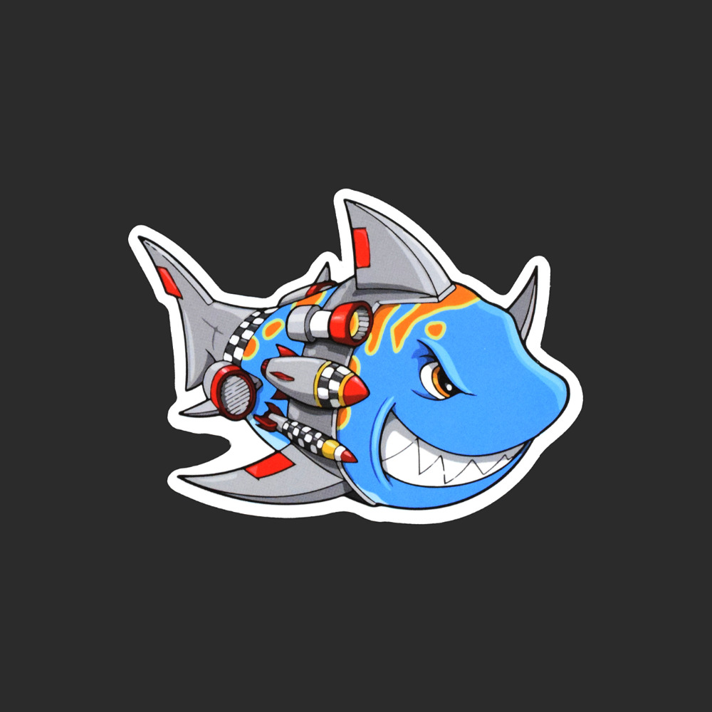 Ferocious fish Single Funny Animal Sticker Car Styling Waterproof Fashion Tied Brand Stickers Luggage Skateboard Cool Decals