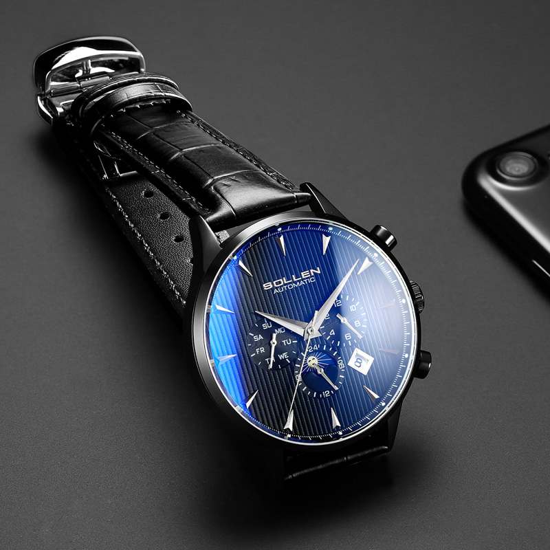 Sapphire crystal color changing glass Fashion Men Watches Male Luxury Automatic Mechanical Moon Phase Waterproof Sport