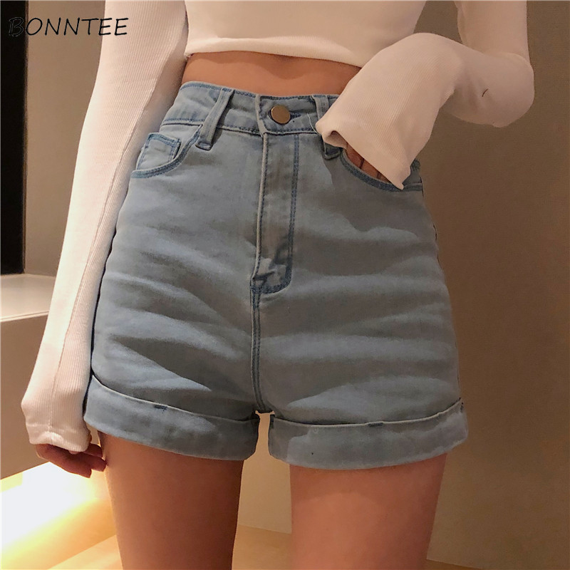Shorts Women Summer Korean Chic Retro High Waist Slim Womens Solid All-match Regular Denim Short Female Simple Elegant Leisure