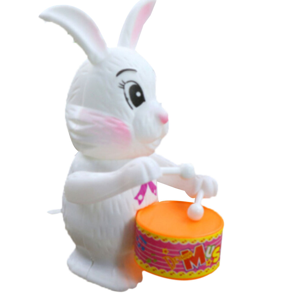Toy Musical Instrument Rabbit Drumming Clockwork Wind-Up Toys Children Funny Educational Plastic Kid To Play Game Baby Gift Cute