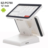 Free Software SDK 12dual screen touch screen pos system Android Tablet PC Cash Register machines support Wifi,bluetooth,camera