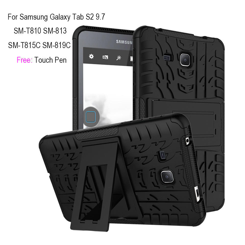 Tablet Case for Samsung Galaxy Tab S2 9.7 TPU and PC Case for Samsung Tab S2 9.7 SM-T810 T813 T815C T819 9.7inch Funda+Touch Pen stylish pc tpu case w rotatable stand for samsung galaxy note 3 n9000 black