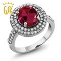 Gemstoneking vintage 925 anel de prata 4.57 ct stunning 10x8mm oval criado red ruby cocktail rings para mulheres