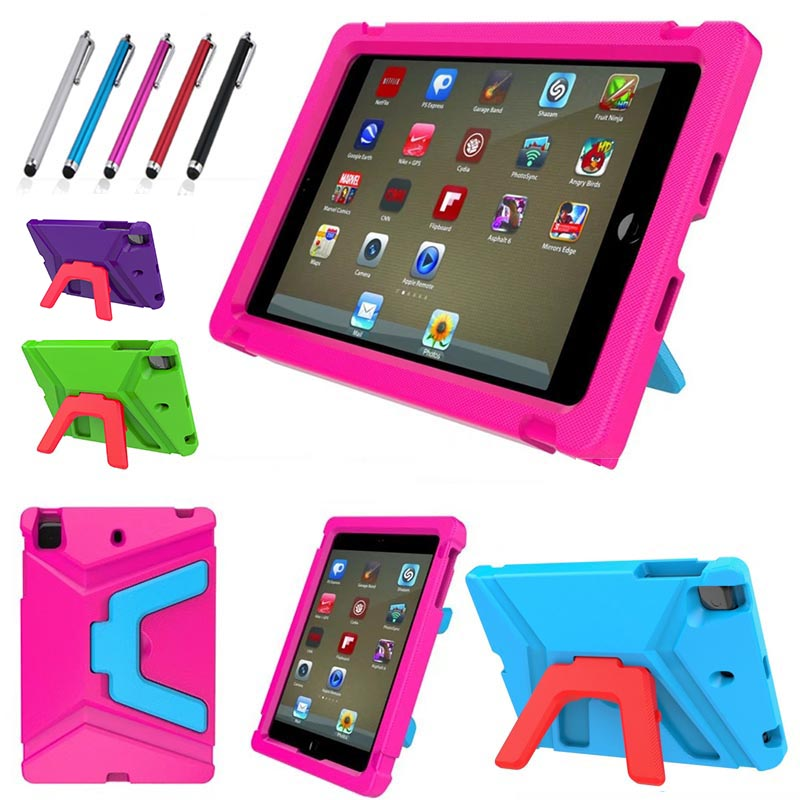 For iPad Mini 1 2 3 4 5 case, Shockproof EVA Foam Protective Cover Triangle Cute Kids Stand case+pen