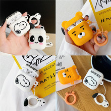 For Airpods 2 Case 3D Cute Cartoon Panda Bear Wireless Earphone with Finger Ring Strap Soft Silicone Cover Air Pods 1/2