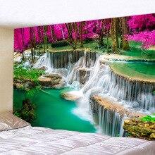 3D пляжное полотенце водопад пейзаж красивый лесной поток печать настенный ковер йога коврик Домашний Декор гобелен