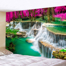 Wholesale 3D Beach Towel Waterfall Landscape Beautiful Forest Stream Printing Wall  Carpet Yoga Mat Home Decor Tapestry