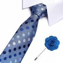 Quality Tie Set for Men Blue Floral Polka dot Necktie Man Corbatas Hombre Wedding Tie&pin set