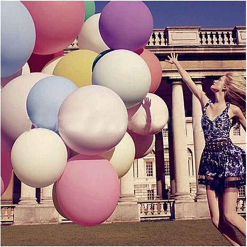 36 Inci Warna-warni Blow Up Bola Raksasa Balon Balon Helium Inflable Lateks Besar Balon untuk Dekorasi Pesta Ulang Tahun Anak-anak Baloon