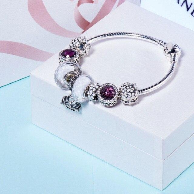 Весенняя Коллекция Пандора браслеты белые цветы корона подвески женщины браслеты 925 серебро подлинный Европейский DIY Ювелирных подарков