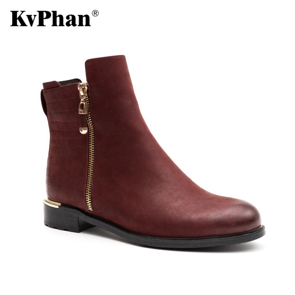 KvPhan Winter Ankle Warm Wool Fur Boots Genuine Full Grain Leather Long Plush Snow Boots font