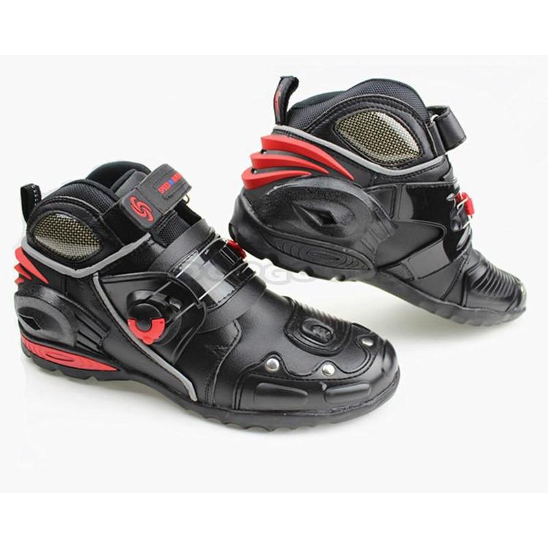 ФОТО PRO-BIKER SPEED BIKERS Men's Moto Racing Motorcycle Motocross Boots Leather Breathable Motorbike Outdoor Sports Shoes
