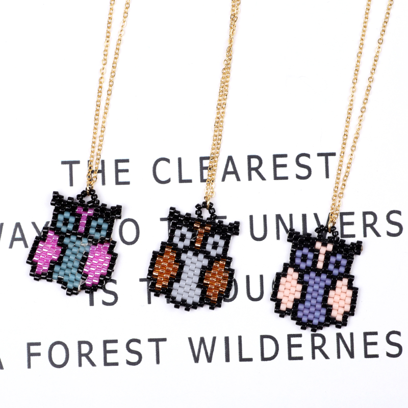 FAIRYWOO Miyuki Jewelry Handmade Beaded Cute Ethnic Owl Animals Necklace Woman Fashion Vintage Thin Chain Miyuki Collier Choker in Pendant Necklaces from Jewelry Accessories