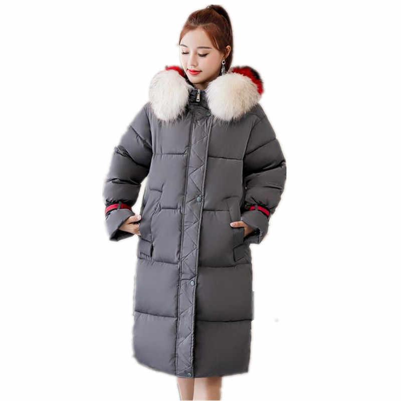 15ab876ef79 Новинка 2018 г. с капюшоном меховой воротник хлопок-стеганая куртка толстые  Для женщин куртка