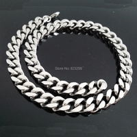 Large Heavy Punk Style Silver Curb Cuban Stainless Steel Men S Jewelry Necklace Length 60cm Width