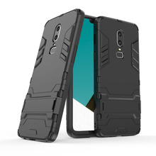 For Oneplus 6 Case 2 In 1 Hybrid Tank Armor Case With Kickstand Anti Shock Impact Protective Hard Back Phone Cover For Oneplus 6 leegoal tm armor combo silicone hybrid hard case cover with kickstand fit for apple ipod touch 5g with accessories sreen protector anti dust plug