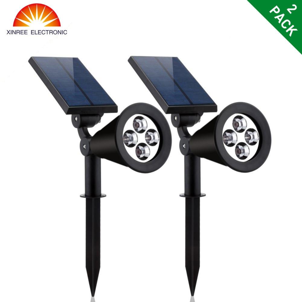 XINREE 2PCS 4 LED napelemes fényszóró vízálló kültéri kert - Kültéri világítás