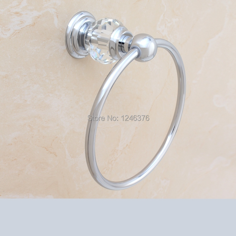 Free shipping luxury crystal brass chrome plated towel - Chrome plated brass bathroom accessories ...