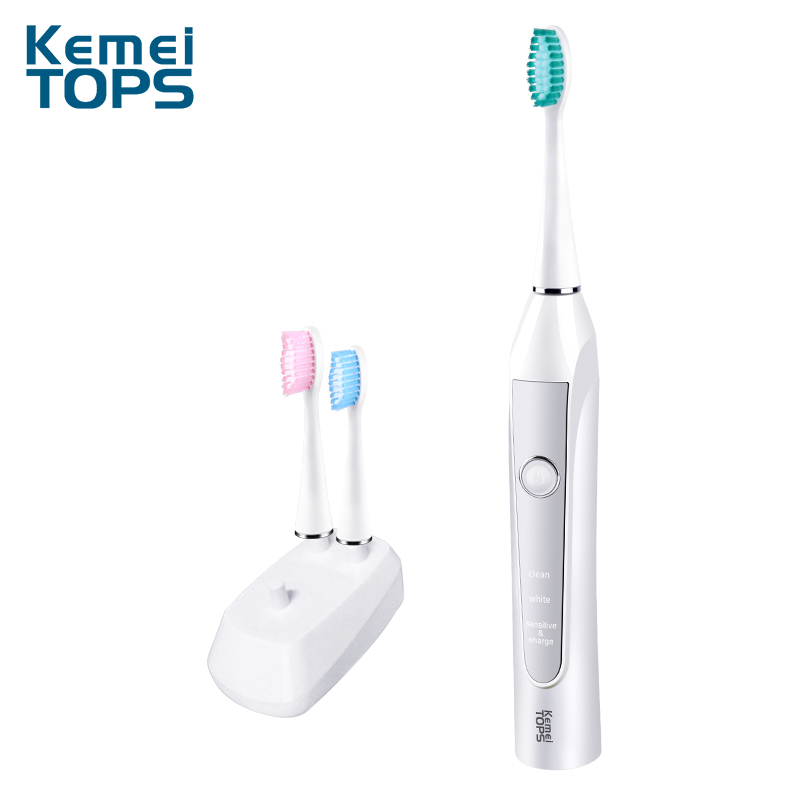 Kemei Electric Toothbrush Ultrasonic Washable Toothbrush Inductive Charging Automatic Oral Toothbrush With 3 Brush Heads