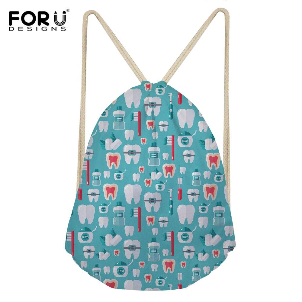 FORUDESIGNS 2018 Fashion Women Backpack 3D Dentist Medical Print Travel Softback Girls Mochila Drawstring Bag Kid Storage Bag