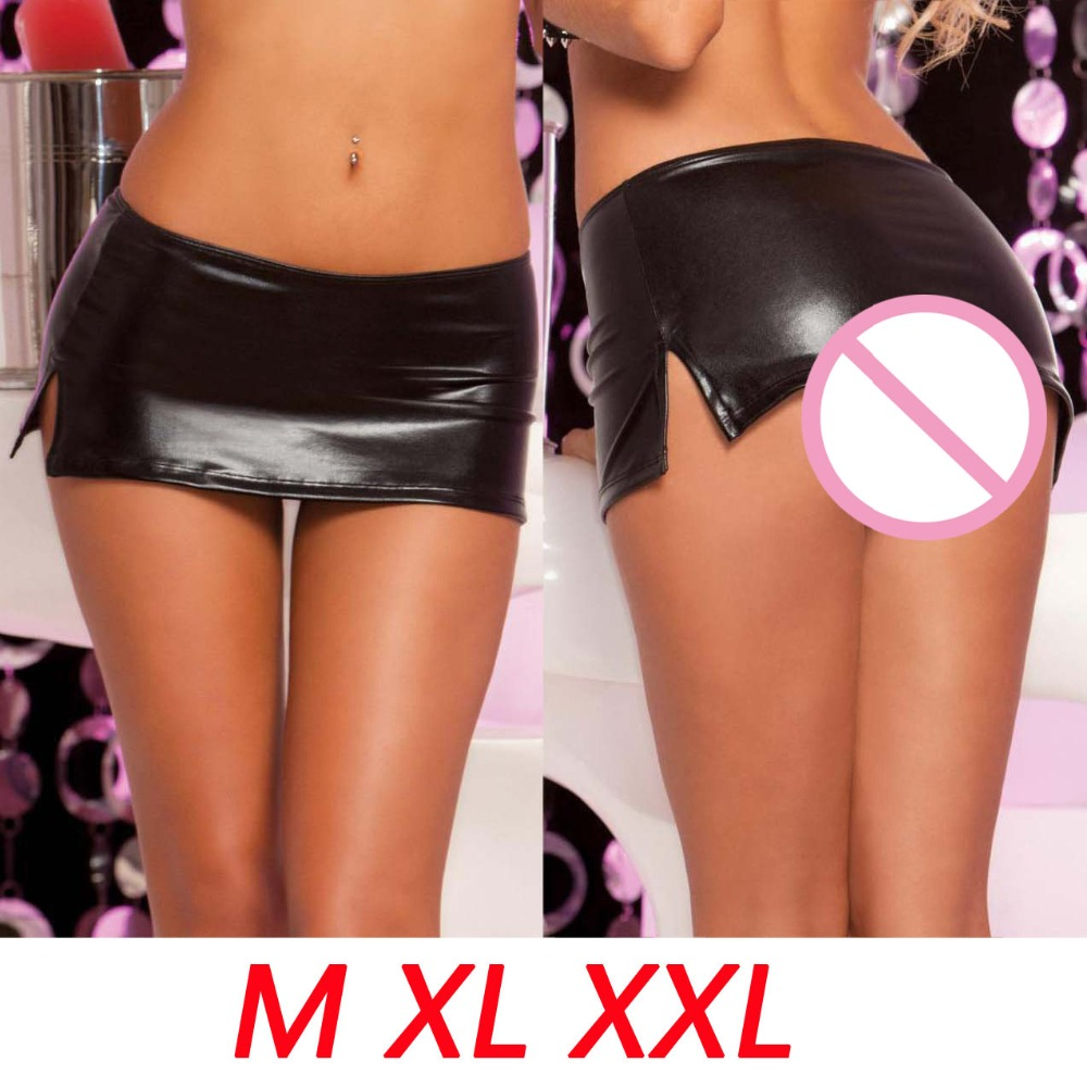 M-XXL Plus Size Elastic Mini Super PU Skirt Women High Side Split Pencil Miniskirt Low Waist Sexy Night Club Bar Fantasy Skirts
