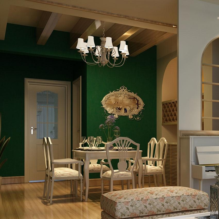 American Rustic Vintage Emerald Green Solid Color Wall Paper Roll Living Room Non Woven Wallpaper for Walls papel de paredes