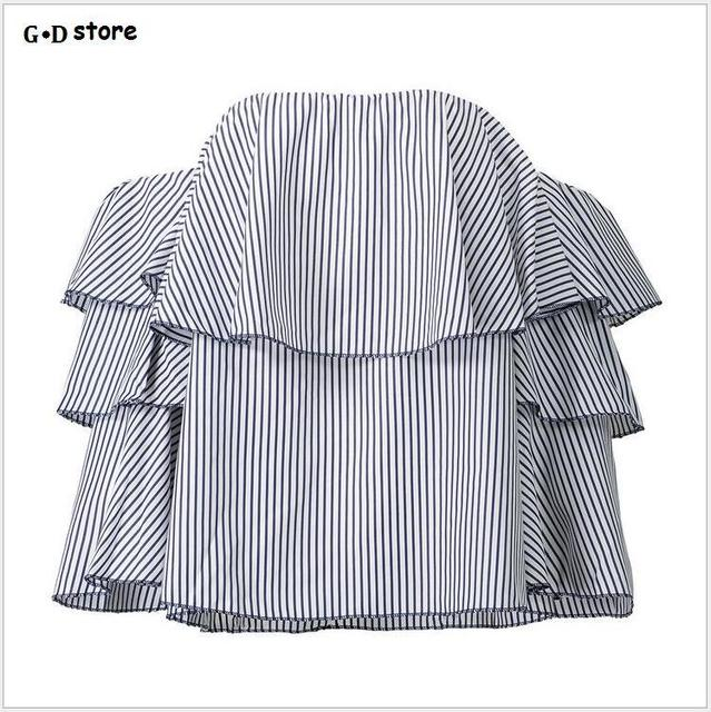 b08cf562f0e Spring Women Tops 2017 Fashion Off Shoulder Ruffle Blouse Tunic Top Blue Striped  Blouses And Shirts