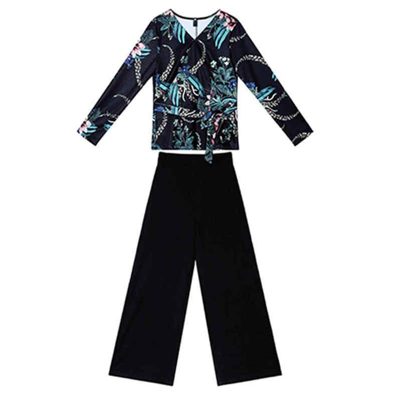 2020 ฤดูใบไม้ผลิใหม่ผู้หญิง OL ชุดหญิงดอกไม้พิมพ์เสื้อ + กางเกงขากว้างชุด Sashes สุภาพสตรี Slim PLUS ขนาด 3XL 2PCs F19