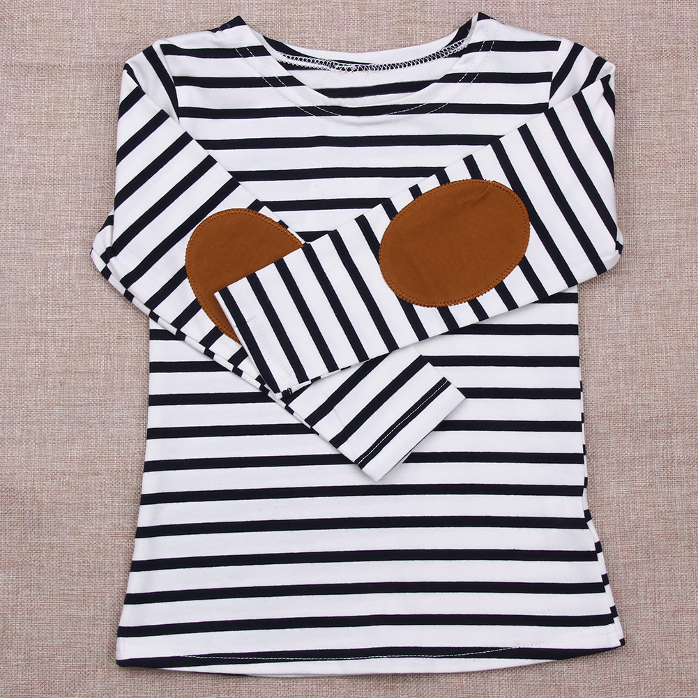 New 2017 Summer Kids Girls T-shirt Long Sleeve Striped Cotton T-shirt Girl Children Fashion Tops Kids Baby Clothes for 2-7Y
