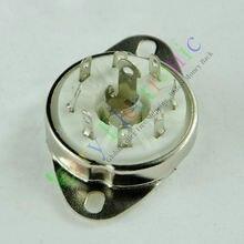 Оптом и в розницу 20 шт. серебро 8pin керамическая ламповая панель Loctal клапан база fr 5B254 аудио-усилители