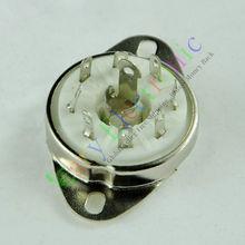 Wholesale and retail 20pcs silver 8pin Ceramic vacuum tube socket Loctal valve base fr