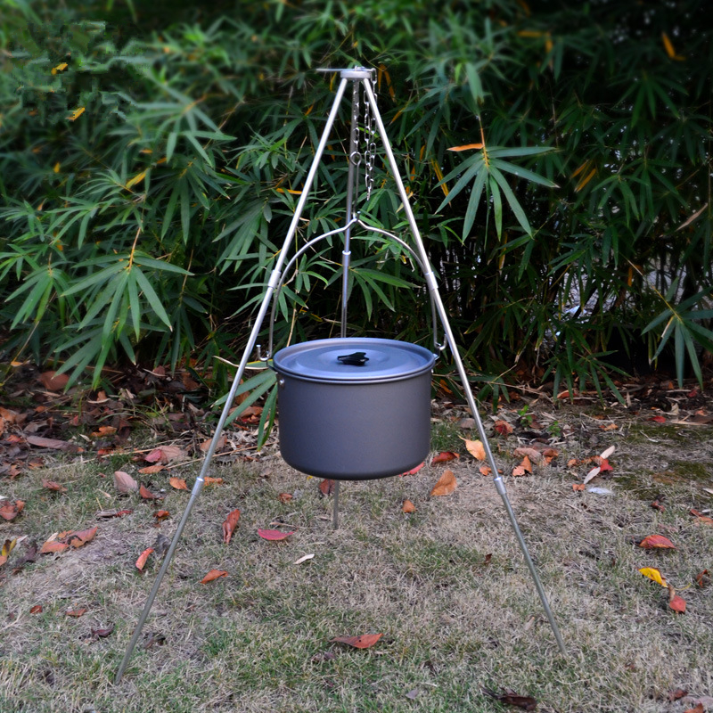 Image 2 - VILEAD Camping Picnic Tripod Hanging Pot Durable Portable Campfire Picnic Cast Iron Pot Grill Hanging Outdoor Cooking Tripod-in Camping Cookware from Sports & Entertainment