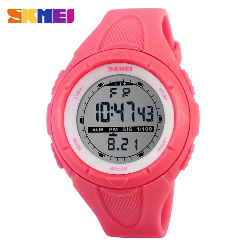 SKMEI Mujeres Lindas Relojes Deportivos Moda Deporte Al Aire Libre Impermeable LED Dígito Reloj Militar Multifunción Boy Girl Kids Reloj de pulsera