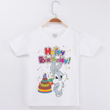 New Birthday T-shirt For Girl Cartoon Cute Rabbit Printing Cotton Short Children Clothes Kids T Shirts Boys Clothing Girls Tops машины технопарк машина уаз нunter дпс