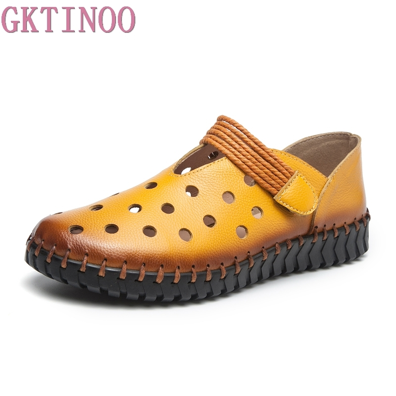 GKTINOO Fashion Women's Handmade Shoes Genuine Leather Flat Hollow Shoes Woman Loafers Soft Comfortable Casual Shoes Women Flats gktinoo fashion handmade women genuine leather shoes hollow breathable summer spring flats ladies flats shoes casual shoes