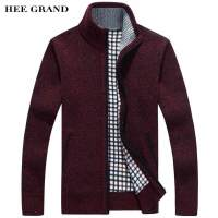 HEE GRAND Men Sweater Casual Style Stand Collar Cotton Material Thin Wool Warm Thick Autumn Winter