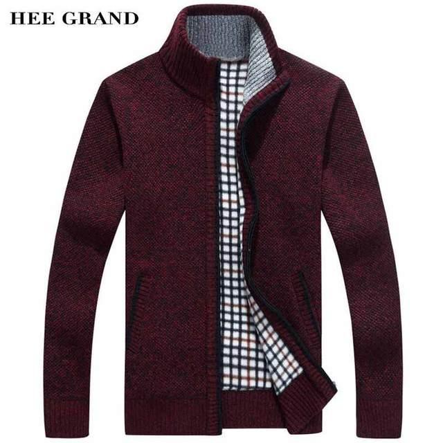 Hee Grand/мужчин свитер Повседневная Стиль Стенд воротник хлопок Материал тонкой шерсти теплые толстые осень-зима кардиган Размеры M-3XL MZM516
