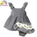 Enbaba Baby Girls Clothes kids brand girls clothing sets sleeveless Stripe belt t-shirts+white lace Shorts suits outfit infant