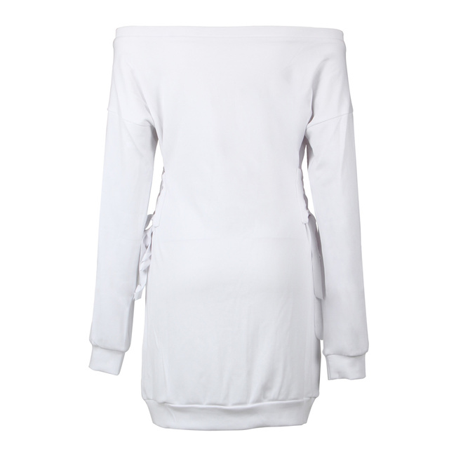 Glamorous Lace Up Slash Neck Sweatshirt Dress Kylie Jenner White Long Sleeve Solid Off The Shoulder Sexy Mini Women Dress 4