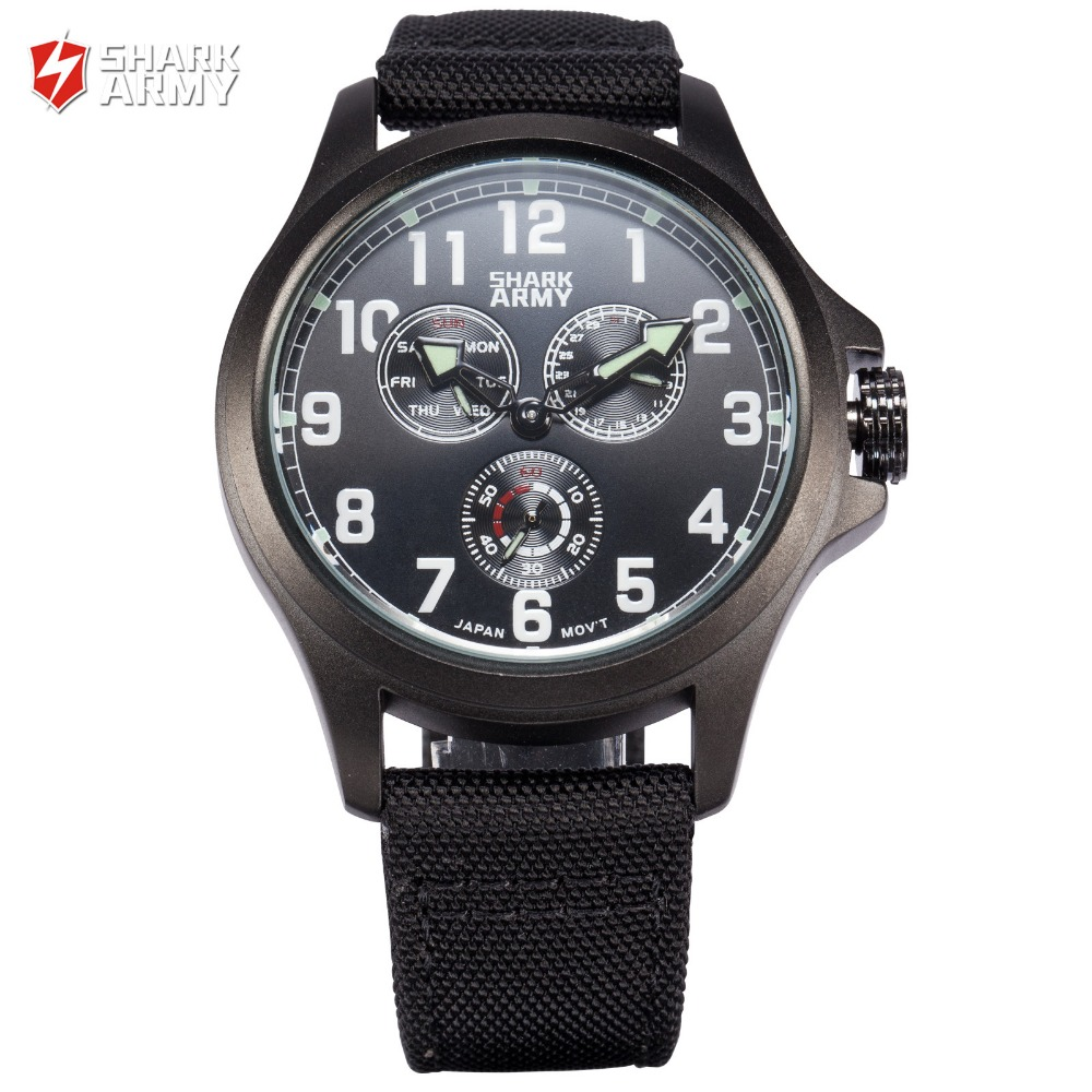 SHARK ARMY Auto Date Day Display Relogio Masculino Male Black Military Wristwatch Nylon Band Men Quartz Sports Watches /SAW128 voodoo ii shark army auto date black silicone strap military wristwatch sports clock men military quartz wrist watches saw177