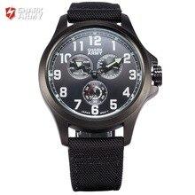 SHARK ARMY Auto Date Day Display Relogio Masculino Male Black Military Wristwatch Nylon Band Men Quartz Sports Watches /SAW128
