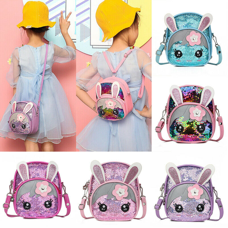 2019 Baby New Kids Toddler Girls Sequin Rabbit Schoolbag Summer Accessories Cute Backpack Bling Bling Cartoon Bunny Shoulder Bag
